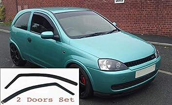 2x Deflettori DAria per Opel Corsa C 2000-2006 MK3 3 Porte In-Channel Antiturbo Per Auto Vetro Acrilico Anti Vento Guardia di Pioggia Sole Neve