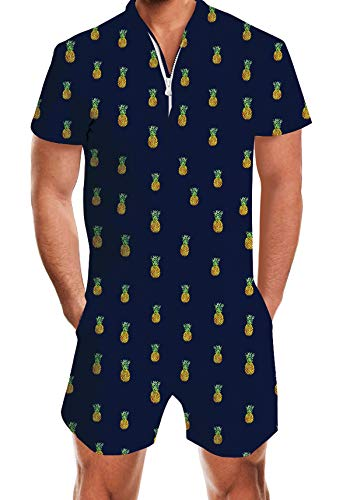 (UNIFACO Mens Short Sleeve Jumpsuit Black Overall with Pineapple Printed Playsuit Novelty Shorts Pants One Piece Outfits Boyfriend Jumpsuit Durable Zip with Pocket)