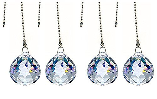 DLD Magnificent crystal 30mm Clear Crystal Ball Prism 4 Pieces Dazzling Crystal Ceiling FAN Pull Chains