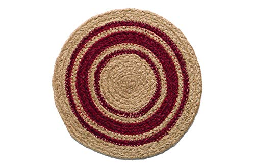 Braided Round Trivets - IHF Home Decor Table Trivets Rug for Kitchen, Dinner Tables, Bar Drink, Living Room, Bathroom | 100% Natural Braided Area Trivet - Round Shaped | Cameron - Jute Fiber Circle Rugs 8