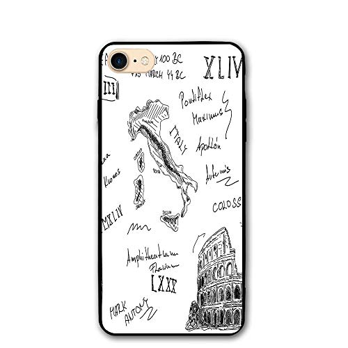 (Haixia IPhone 7/8 Cover Case 4.7 Inch Toga Party Ancient Roman Period Icons Caesar Colosseum Gladiator Helmet Sketch Art Decorative Black And)