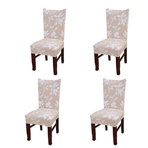 SoulFeel Set of 4 Dining Chair Covers, Stretch Spandex Dining Room Protector Slipcovers (Champagne Shadow)