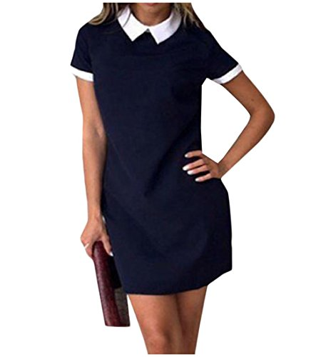 Confortables Pour Femmes Simples Colores Solides Manches Courtes Blouses Robe Chemise Bleu Foncé