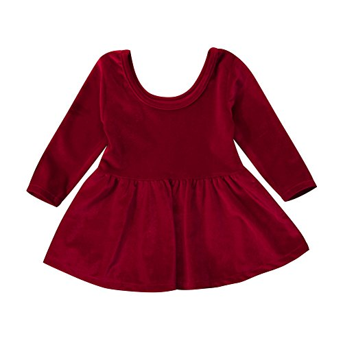 Infant Toddler Baby Girl Velvet Long Sleeve Mini Dress Warm Christmas Outfit (Wine Red, 12-24 (Velvet Dress For Baby Girl)