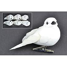 """Mushroom Birds W/Clip 3"""""""" 6/Pkg-White Doves"""