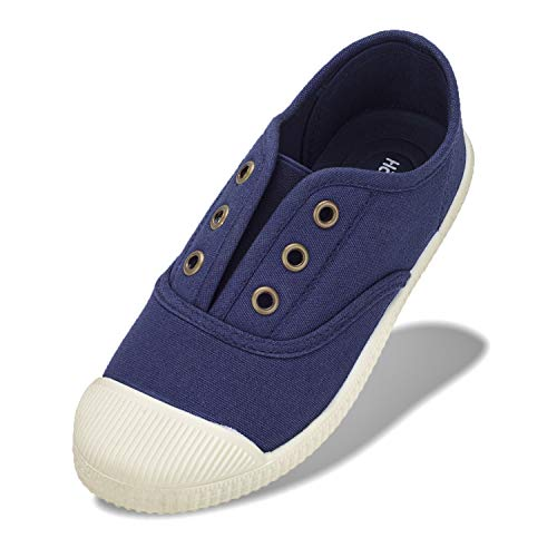 Kids Shoes Toddlers Canvas Sneakers Slip-on Comfortable Light Weight Skin-Friendly Causal Running Tennis Shoes for Boys Girls(Toddle/Little Kids/Big Kids) Navy
