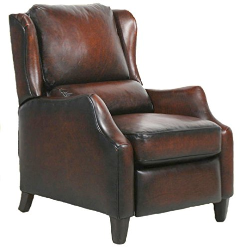 Barcalounger Berkeley II Leather Electric Power Recliner Stetson Bordeaux Top Grain Leather Chair with Espresso Wood Legs 7-4059 5407-17 - Standard Curbside Delivery to Hawaii, Alaska, Puerto Rico and Canada by BarcaLounger