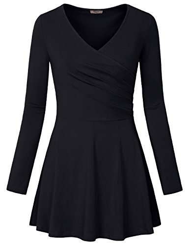 Surplice Top,Timeson Women's Long Sleeve Crossover V Neck Wrap Front Pullover Casual Peplum Tops Black Large