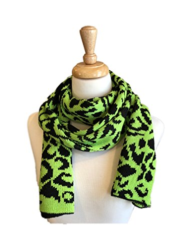 Fine Knit Fashion Scarves with Unique Pattern, Shaw Scarf (Green/Black) - Shaw Green