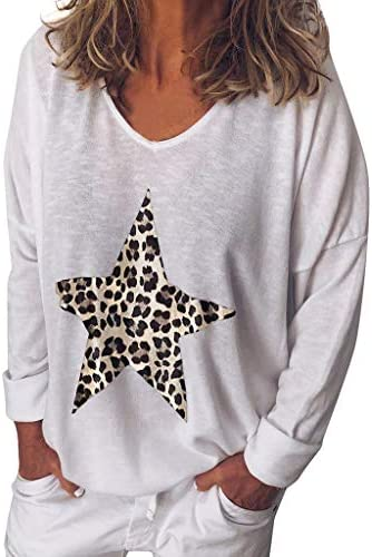 WINLISTING Mujer Gran Tamaño Camisas Otoño e Invierno Cuello Redondo Flojo Camiseta Manga Larga Estrella Leopardo Impresión Casual Tops: Amazon.es: Ropa y accesorios