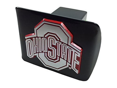 AMG The Ohio State University Metal Emblem (Chrome with red Trim) on Black Metal Hitch Cover