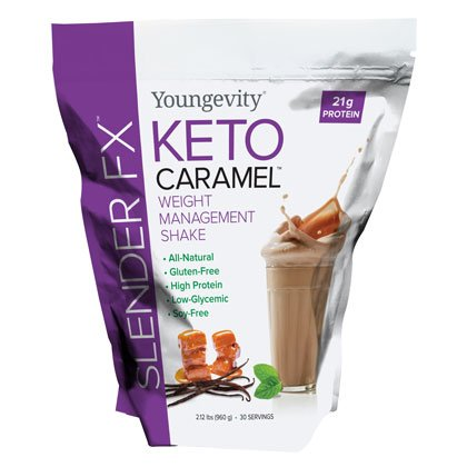 Nutritional Weight Management Shake Keto Caramel Slender FX 2.12 Lbs - 4 Pack by Youngevity