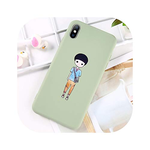 Phone Case for iPhone 6 6s 7 8 Plus X XR XS Max Fashion Cartoon Love Heart Boy Girl Soft TPU for iPhone X Couple Case,T4,for iPhone Xs