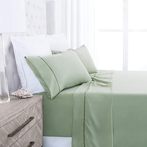 (Beckham Hotel Collection Luxury Soft Brushed 1700 Series Microfiber Sheet Set - Hypoallergenic - King - Sage)