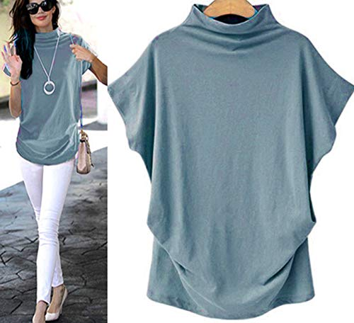 Women Tops Plus Size Casual Women Turtleneck Short Vest Sleeve Cotton Solid Blouse T Shirt S-6XL (M, Light Blue) ()