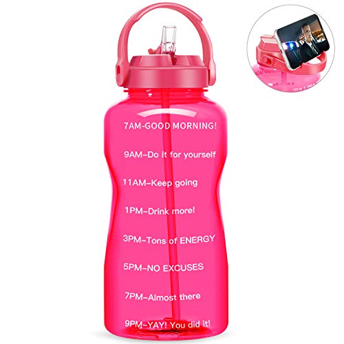 🥇 QuiFit Motivational Gallon Water Bottle – with Straw & Time Marker BPA Free 128/64 oz Large Water Jug Leak-Proof Durable for Fitness Outdoor Enthusiasts