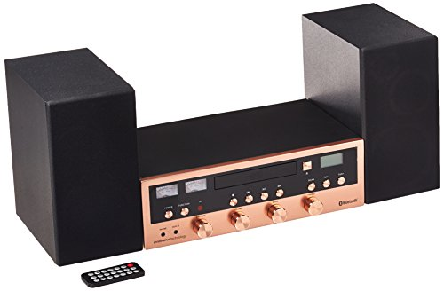 Innovative Technology ITCDS-5000-RSG Classic Retro Bluetooth Stereo System with CD Player, FM Radio, Aux-In, and Headphone Jack, Rose Gold and Black