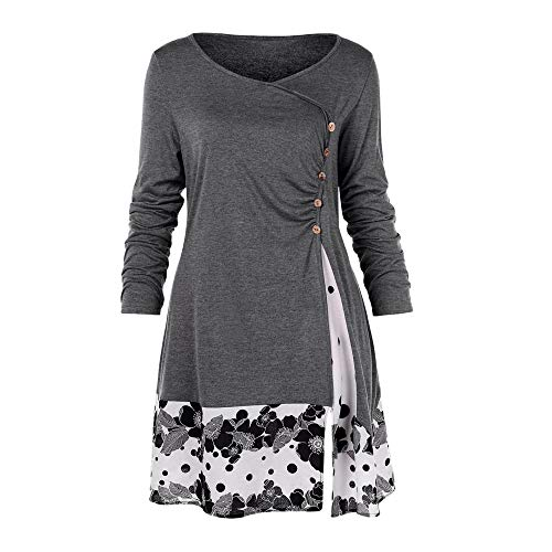Respctful ♪☆ Women's Plus Size Clothing,Ladies Long Sleeve Pullover Side Button Blouse Floral Hem Casual Tops Gray]()