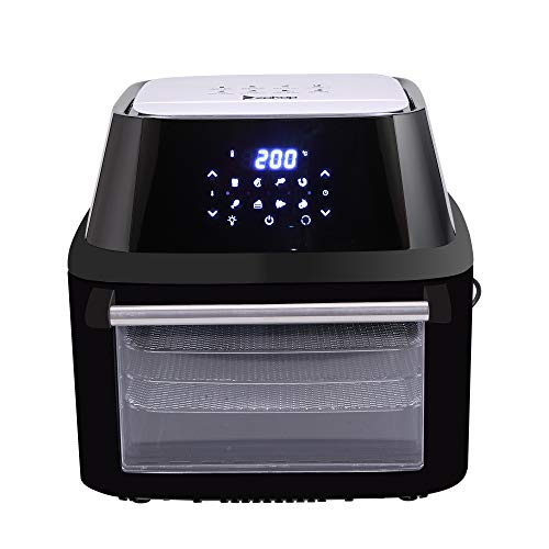 Z ZTDM ZOKOP 17QT Digital Air Fryer + Oven + Rotisserie + Dehydrator, 1800W ETL Listed All-in-One Electric Oilless Cooker, 8 Cooking Preset, 9 Accessories, LED Touch Screen, Auto-Shutoff Safety Black