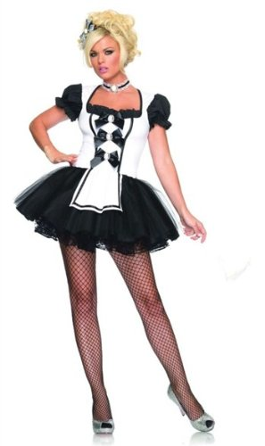 Leg Avenue Women's Mistress Maid Costume, Black/White, Medium/Large (Mistress Costumes)