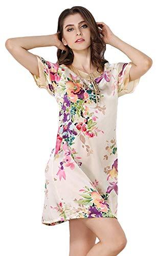 Eleganti Farbe Corto Corta Vestito Fiore Fashion Da Nightdress Yl Abito Notte Donna Estivi Morbidi Pigiami Collo Manica Stampa Rotondo Abbigliamento Vintage Comodo ppzFRrO
