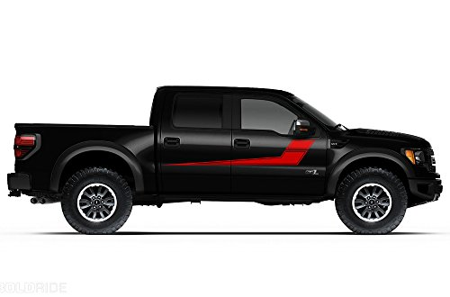 Factory Crafts Rally Stripes Side Graphics Kit 3M Vinyl Decal Wrap Compatible with Ford Raptor Crew Cab 2010-2014 - Dark Red