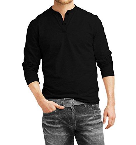 b85af23e0 fanideaz Cotton Henley Full Sleeve T Shirts for Men Premium Black Henley T- Shirt at Amazon Men s Clothing store