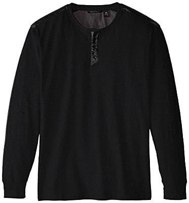 Sean John Men's Big-Tall Long Sleeve Leather Pieced Henley, Obsidian Heather, 3XL