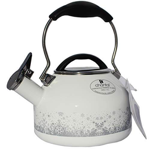 Chantal Christmas Snow Enamel on Steel Whistling Teakettle 1.8 Quart - Limited Edition