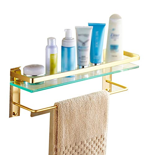 (ZHANWEI Bathroom Shelves Tempered Glass Space Aluminum Wall-Mounted 2 Tiers Shower Organiser Towel Rack, 4 Styles, 3 Sizes (Size : B-50x12x17cm))