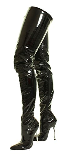 Heel Pvc Steal Over Knee Boots Shiny Stiletto Platform Black High Crotch Sexy Stretch Thigh Fetish Silver The qw04U0P