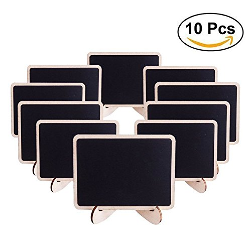 Mini Chalkboards Signs with Easel Stand Wood Place Cards Blackboard for Message Board Wedding Party Table Numbers, Rectangle Set of 10 (Buffet Tags Name)