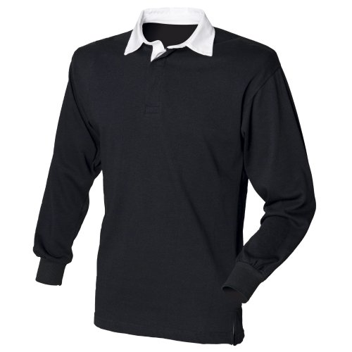 Front Row Long Sleeve Plain Rugby Shirt Black/White 3XL