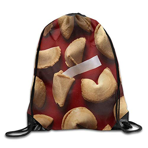 Fortune Cookies On Red Background With White Blank Paper Bags Running Backpack