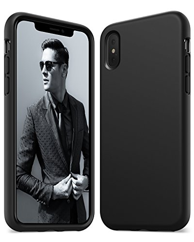 Anker Silicone Case, KARAPAX Silicone Gel Rubber Shockproof Case Cover with Soft Microfiber Cloth Cushion [Support Wireless Charging] [Slim Fit] for iPhone X - Black