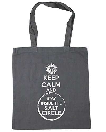 HippoWarehouse Stay Keep Calm litres Circle 42cm x38cm The Grey Tote Graphite And 10 Salt Bag Gym Inside Shopping Beach qqtwr1