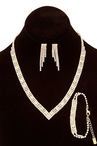 GlitZ Finery Semi Precious Stone Pendant Necklace Set (Pink)