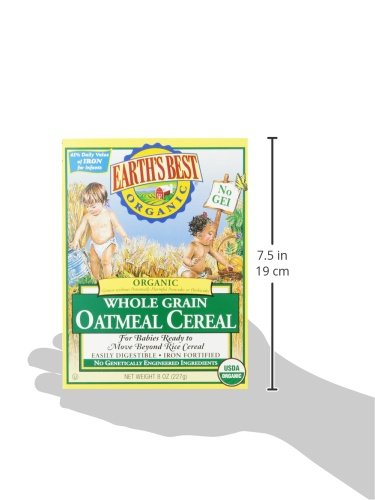412grQTW4DL - Earth's Best Organic Infant Cereal, Whole Grain Oatmeal, 8 Oz. Box (Pack Of 12)