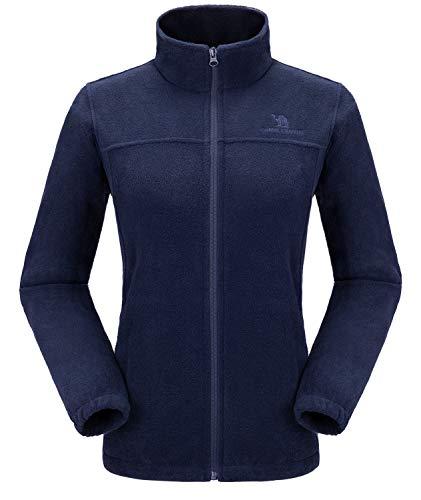 CAMEL CROWN Women Full Zip Fleece Jackets with Pockets Soft Polar Fleece Coat Jacket for Fall Winter Outdoor Dark Blue S