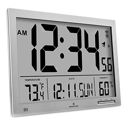Marathon Slim Atomic Wall Clock with Jumbo Display, Calendar, Indoor Temperature & Humidity. Color-Graphite Grey. SKU-CL030062GG (Modern Chaney Clock)