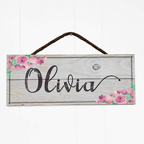 Artblox Personalized Name Rustic Nursery Room Wood Sign Home Decor - Vintage Custom Name & Flowers, Premium Barn Wood Farmhouse Style Wooden Wall Art Country Pallet Plaque 7x18 - White