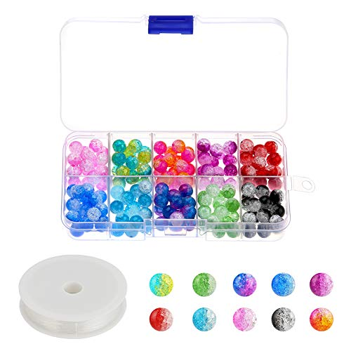 Accmor 200 Pieces 8 mm Crackle Glass Beads, Colorful Crackle Beads Mixed Split Glass Round Beads Assortment with Elastic Crystal String for Jewelry Making and (Crackle Crystal Glass Jewelry)