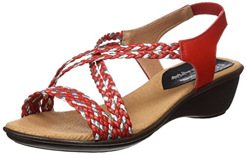 7472323 Egoisimo Mujer Plataforma Sandalias Rojo para con Plana Red dwZwxq
