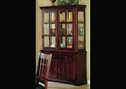 China Cabinet Cherry Finish Wooden Dining Buffet Hutch