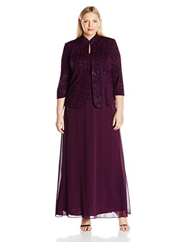 Alex Evenings Women's Plus Size Jacquard Knit Long Dress and Manadrin Jacket, Eggplant, 14W