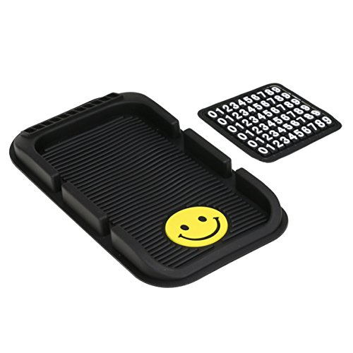 VXAR Non-Slip Mat Holder Cradles Mounts Car Dashboard Sticky Phone GPS Iphone with Parking Number Plate Fits Most Vehicles Black 2 - Sunglasses Crooked