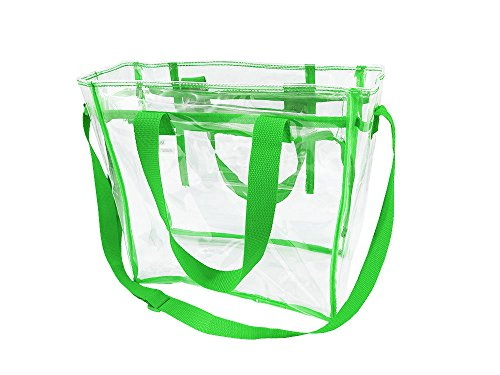 Nova Sport Wear Largest Stadium Security Approved Clear Bag with Handles/Adjustable Strap/12x12x6/Transparent Gameday Tote for Men and Women (Green)