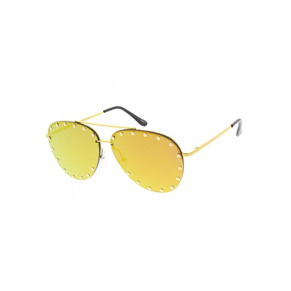 aa4da2fa85c01 Amazon.com  Women s Soiree 60MM Mirrored Studded Aviator Sunglasses  (Orange)  Clothing