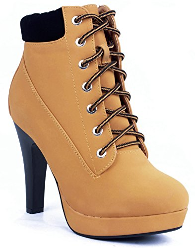 b725e410c2d JJF Shoes Polish-40 Camel Military Lace Up Platform Chunky High Heel ...