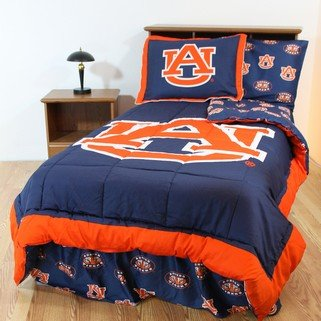 (Auburn Tigers 6 pc Twin Bed in a Bag with Reversible Comforter & Team Colored Sheets: (1 Comforter, 1 Standard Pillow Sham, 1 Flat Sheet, 1 Fitted Sheet, 1 Standard Pillow Case, 1 Bedskirt) )